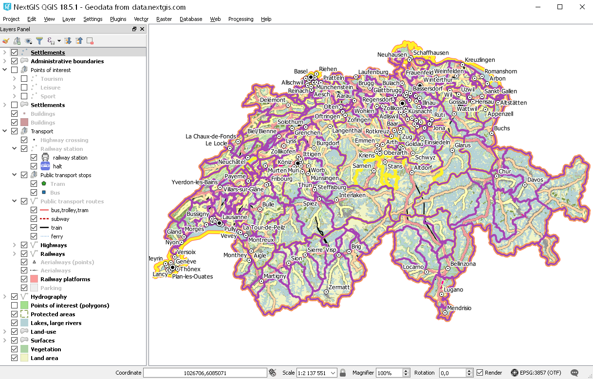 Векторные геоданные в форматах ESRI Shape, ESRI Geodatabase, GeoJSON, Mapinfo Tab, PDF